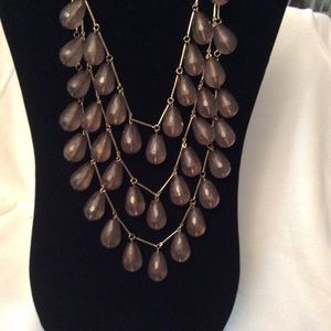 3 Strands of Smokey Grey Teardrops Necklace